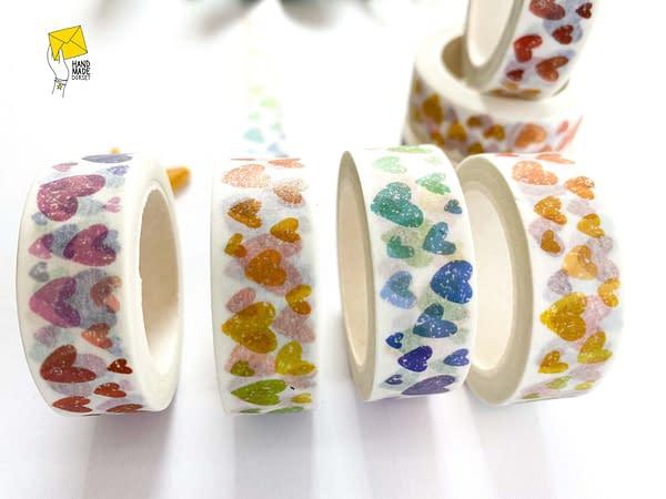 Rainbow hearts washi tape, hearts rainbow washi