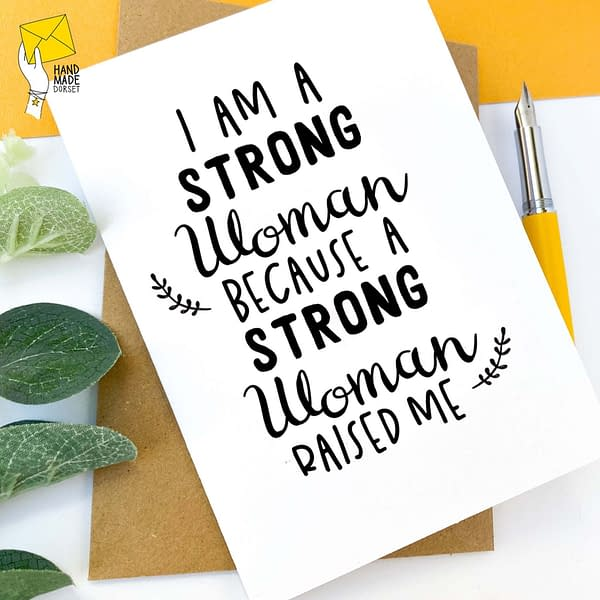 Mothers day card, strong woman quote card