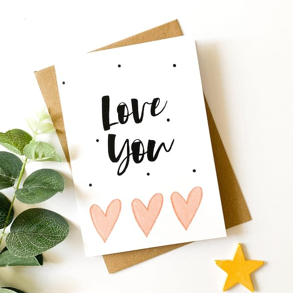 Valentines card, love you card