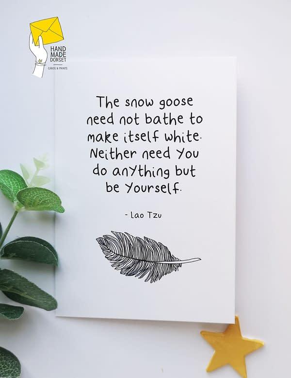 Snow goose quote card, lao tzu quote card