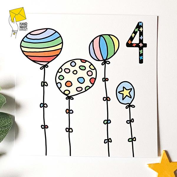 4th birthday card, Card for 4 year old, rainbow birthday