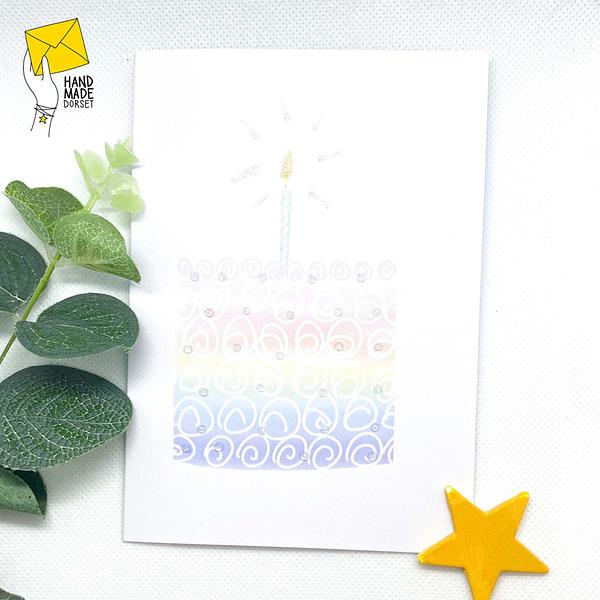 rainbow birthday card, rainbow cake