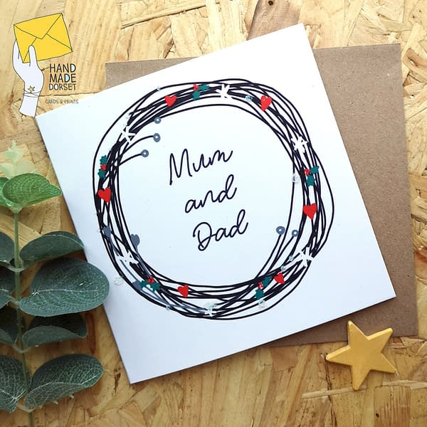 Mum and Dad christmas card, Christmas card for parents