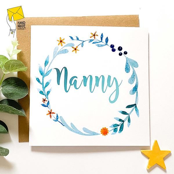 Nanny's birthday card, Card for Nan, Nana, Gran, Grandma, Granny