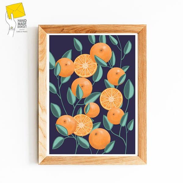 A3 Clementine print, botanical fruit print