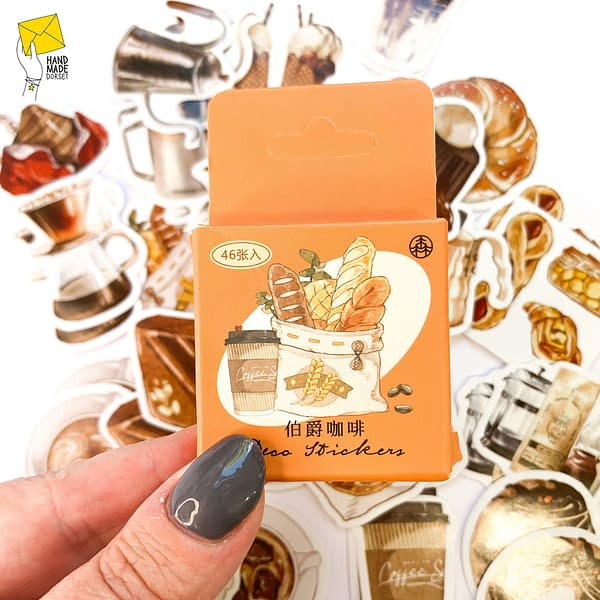 Coffee cup stickers, cafe themed stickers