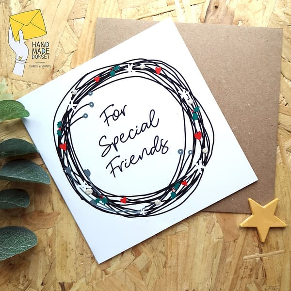 Special friends christmas card, card for friends
