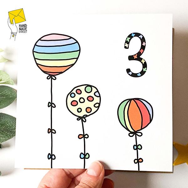3rd birthday card, 3rd Anniversary card, rainbow birthday