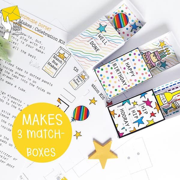 Celebration matchbox, paper crafting kit