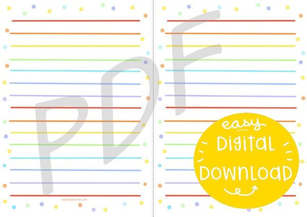 Rainbow stripes paper, rainbow writing set