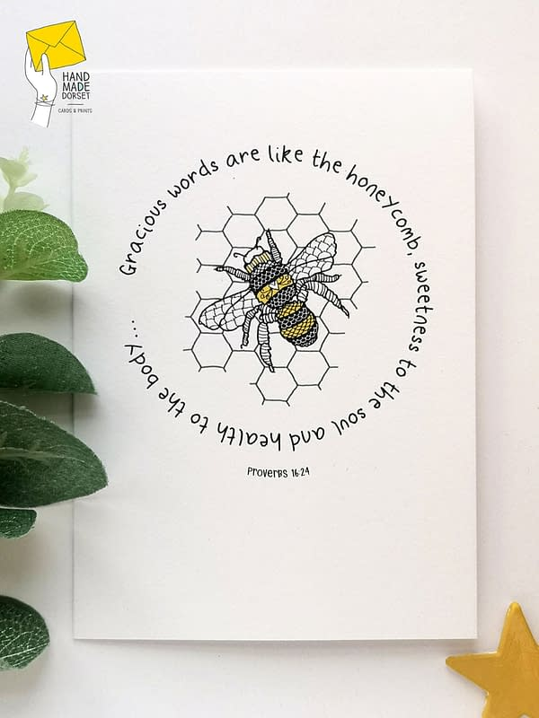 Bee card, proverbs quote card
