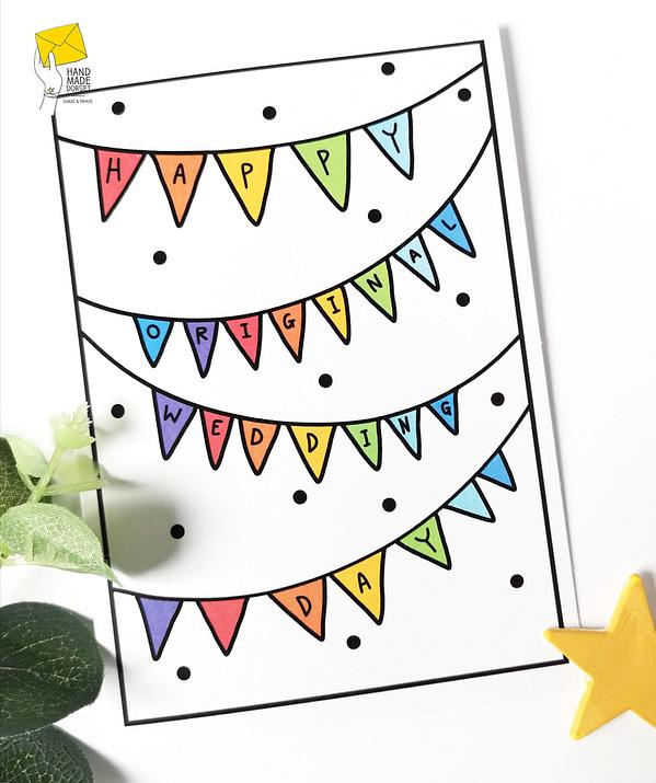 Postponed wedding day card, happy original wedding day, isolation wedding
