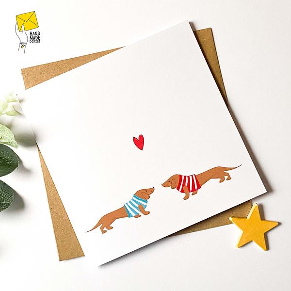 Sausage dog card, daschund card