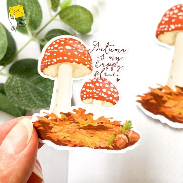 Autumn mushroom sticker, autumn planner sticker