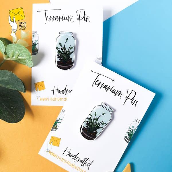 terrarium pin badge, plant pin badge