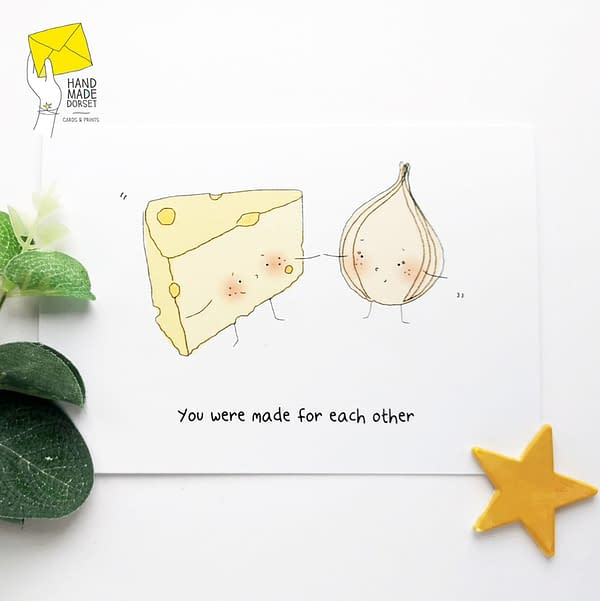 You were made for each other card, cheese and onion card