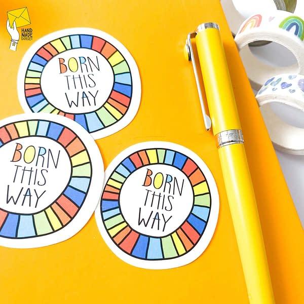 Born this way sticker, autistic sticker, gay pride sticker
