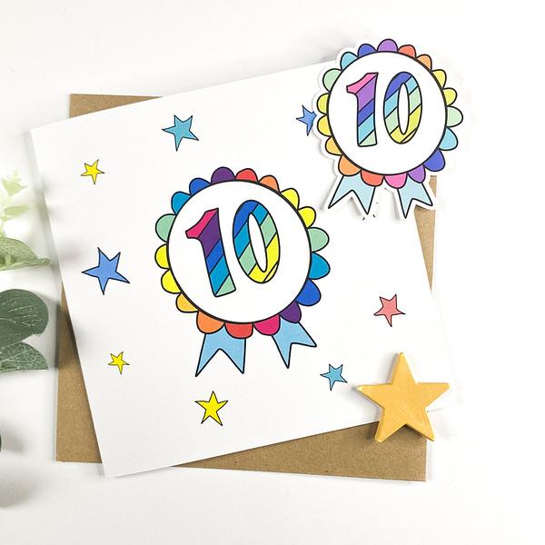 10 Birthday card, 10 year old card
