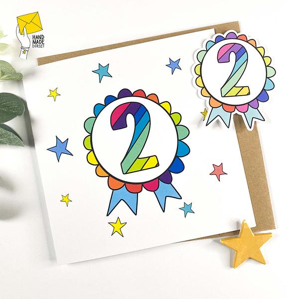 Rainbow number stickers, birthday badges