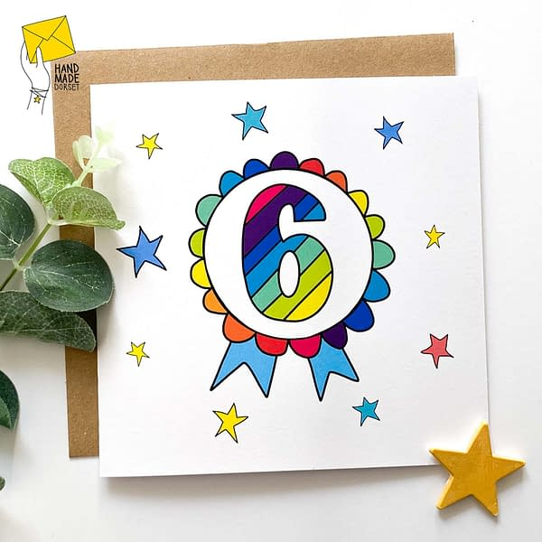 6 Birthday card, birthday card with 6 on