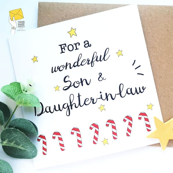 Son and Daughter-in-law Christmas card, son and his wife card