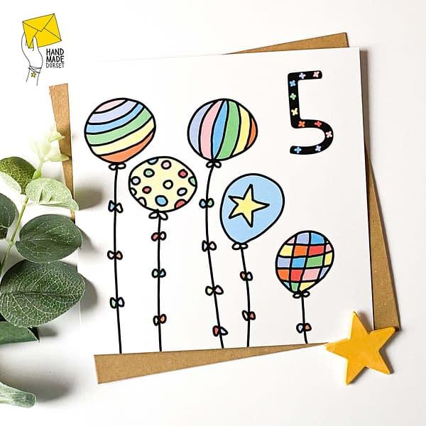 5th birthday card, 5 card, rainbow birthday
