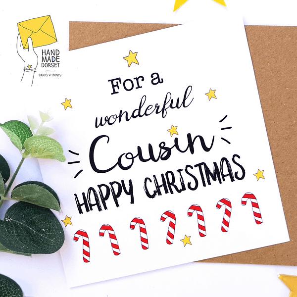 Cousin Christmas card, card for cousin