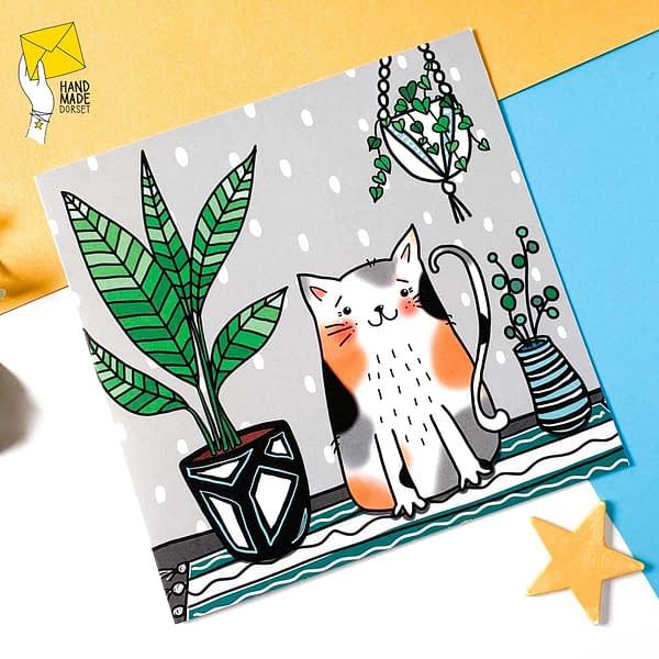 Tortoiseshell cat card, cat with plants card