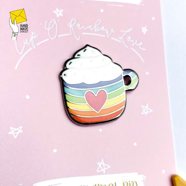 Rainbow pin badge, cup enamel pin