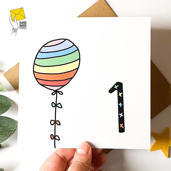 First birthday card, rainbow birthday