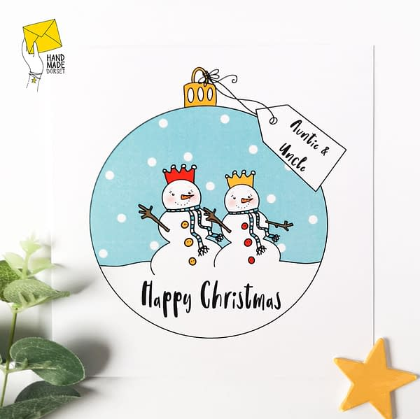 Auntie and Uncle Christmas card, christmas card for aunt and uncle