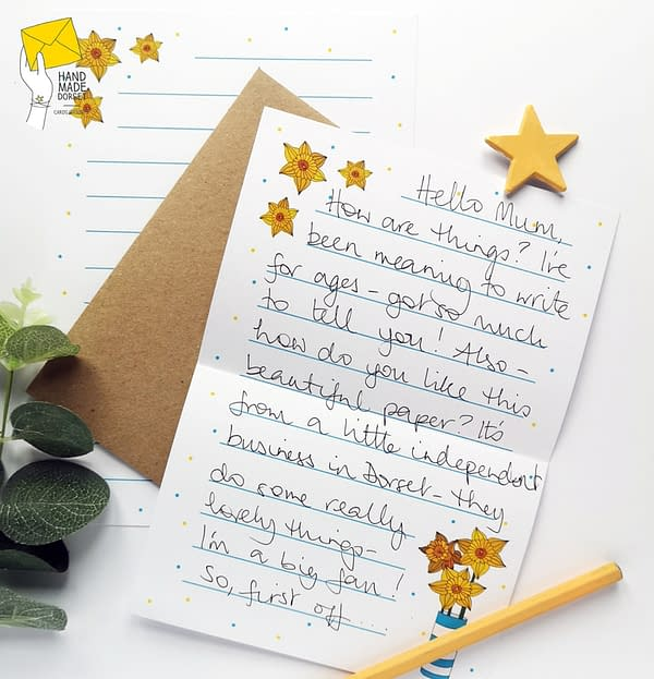Daffodil writing paper, spring paper set