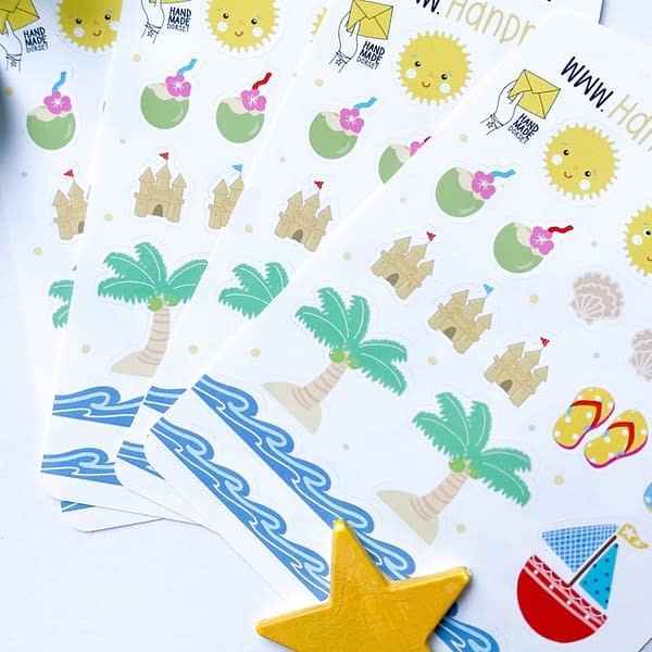 Summer themed stickers, holiday planner stickers