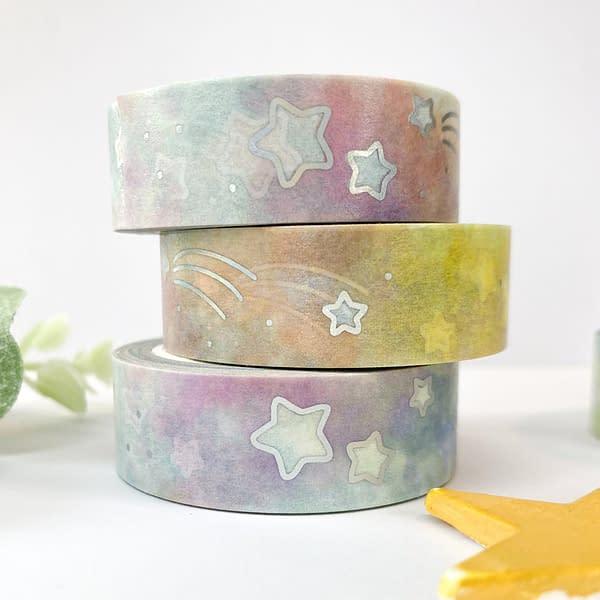 Rainbow stars washi tape, pastel rainbow washi tape