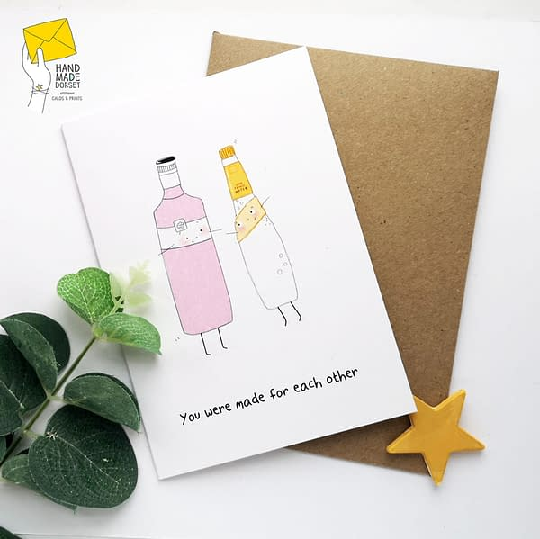 Pink gin card, pink gin valentines card