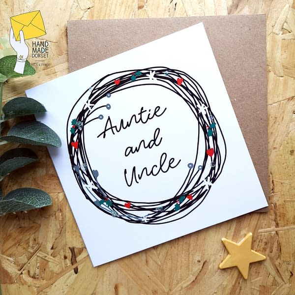 Auntie and uncle christmas card, aunt and uncle card
