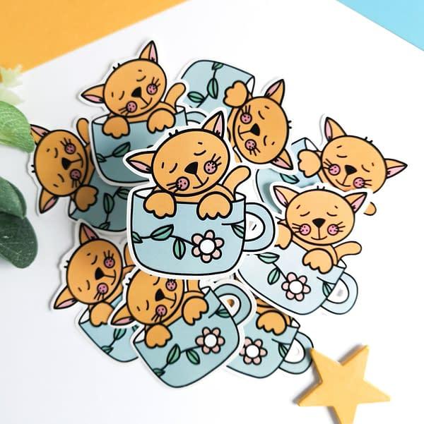 Cute cat sticker, cat in a cup sticker