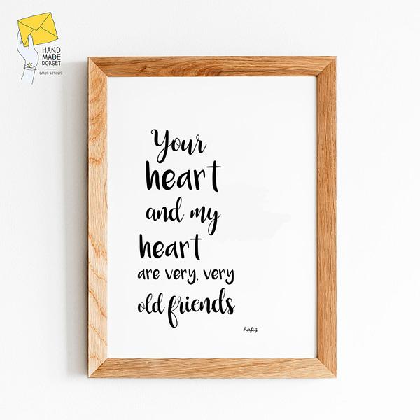 Romantic, Hafiz quote print