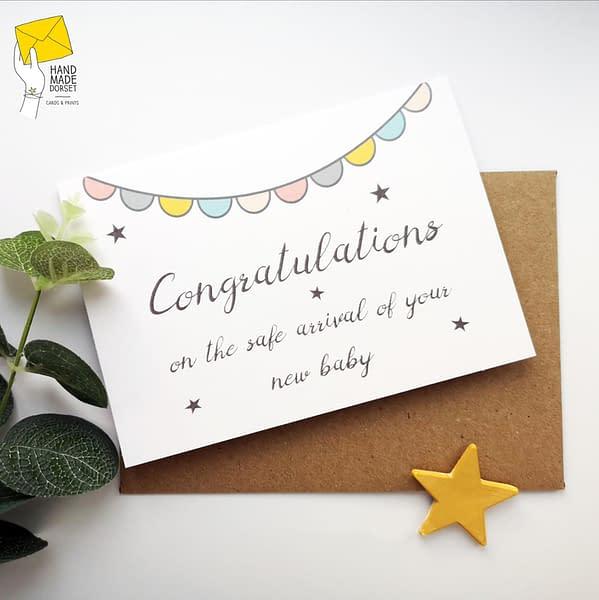 Custom baby girl card, personalised baby girl card
