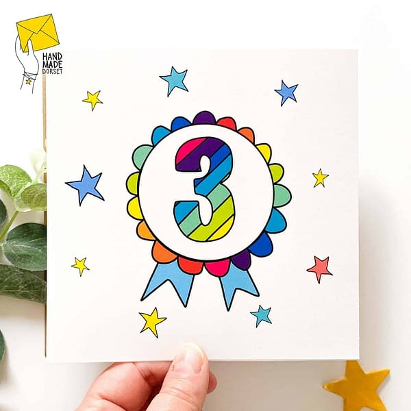 3rd Birthday card, birthday card with 3 on
