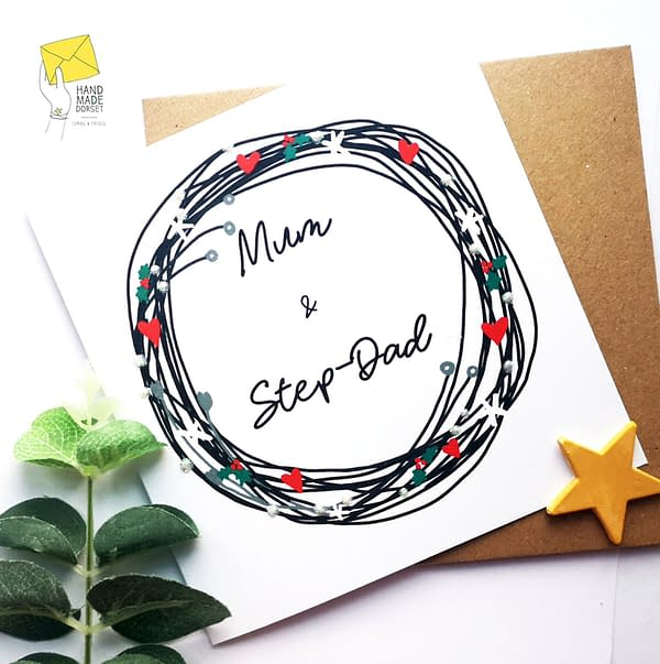 Mum and Step-Dad christmas card, card for mum and Step-dad