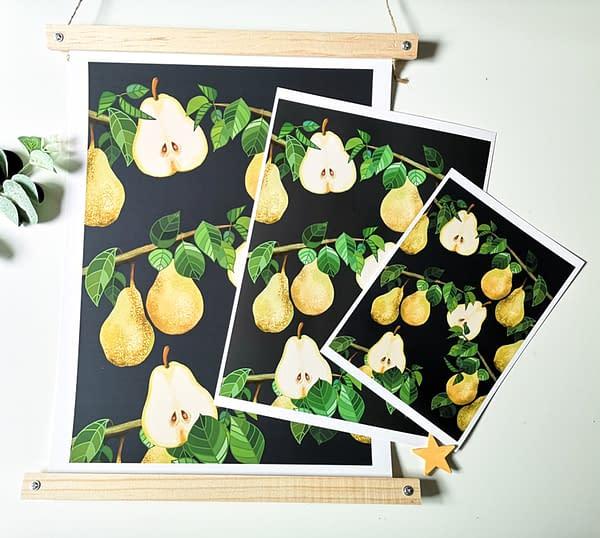 Lemons print, botanical fruit print