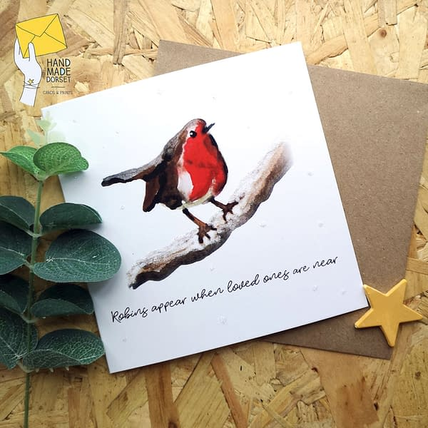 Robins appear when loved ones are near card, Robin christmas card