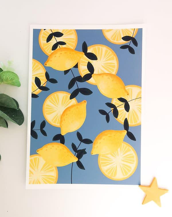 A3 Lemons print, botanical fruit print