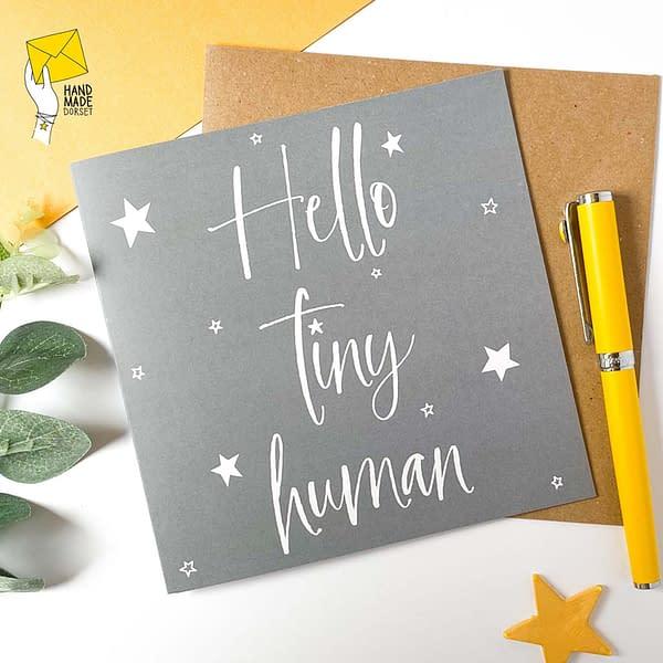 Hello tiny human card, new baby card