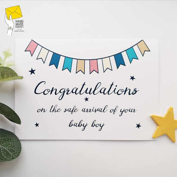 Baby boy card, congratulations on baby boy card