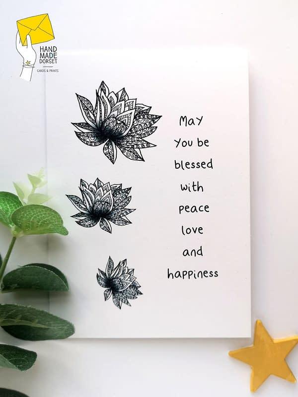 Spiritual birthday card, lotus flower card