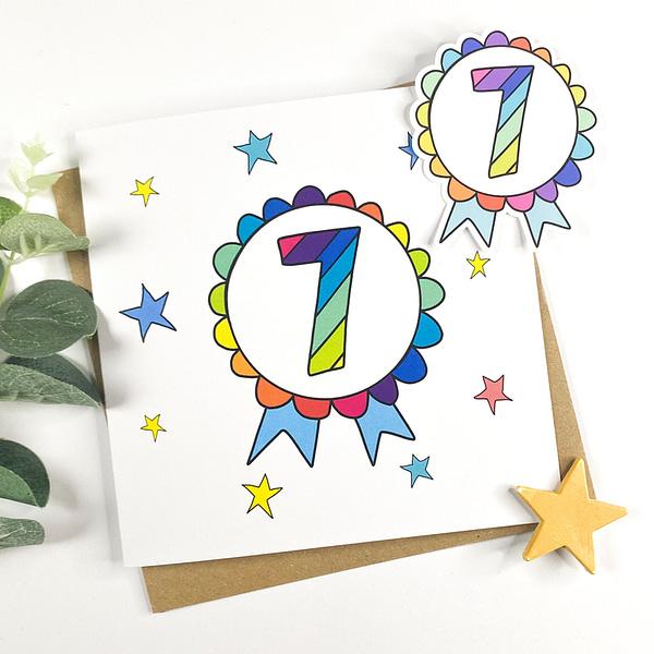 7 Birthday card, birthday card for 7 year old