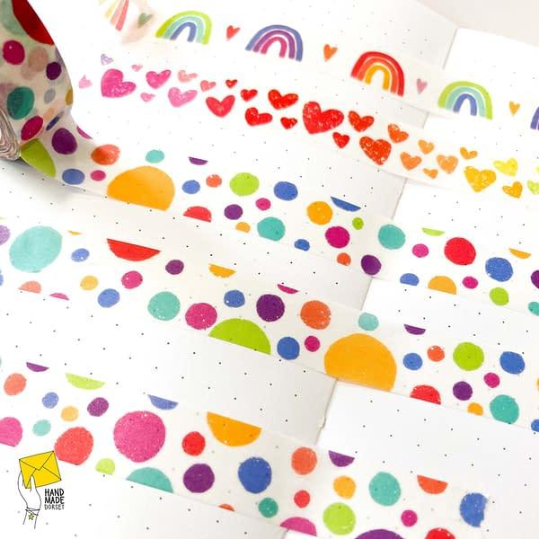 Rainbow dots washi tape, dotty washi tape