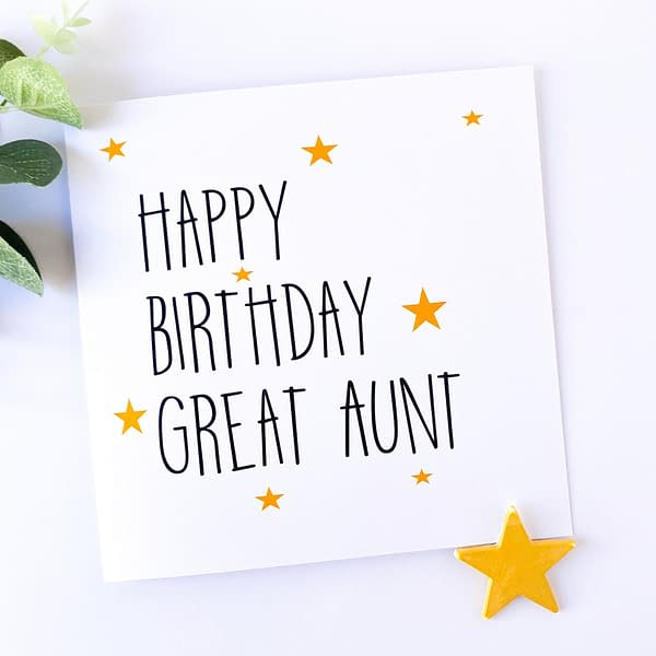 Great Auntie birthday card, birthday card for great aunt